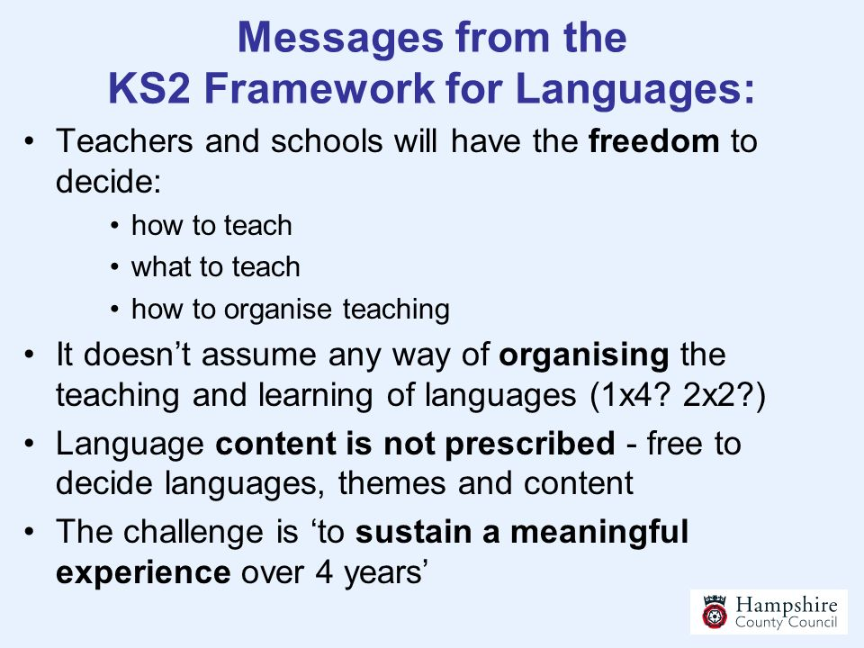Messages from the KS2 Framework for Languages: