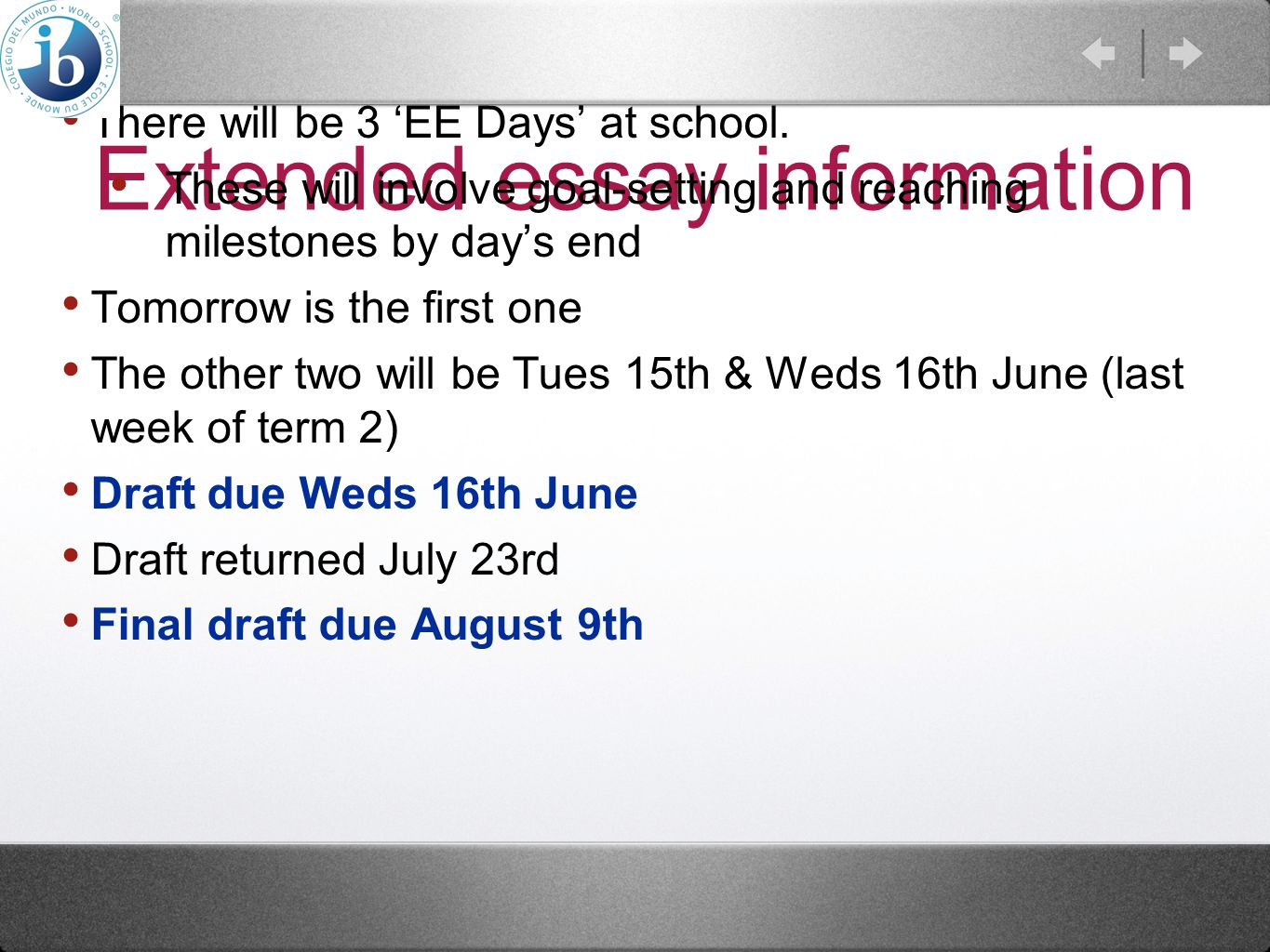 Extended essay information