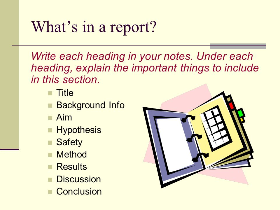 What's in a report Write each heading in your notes. Under each heading, explain the important things to include in this section.