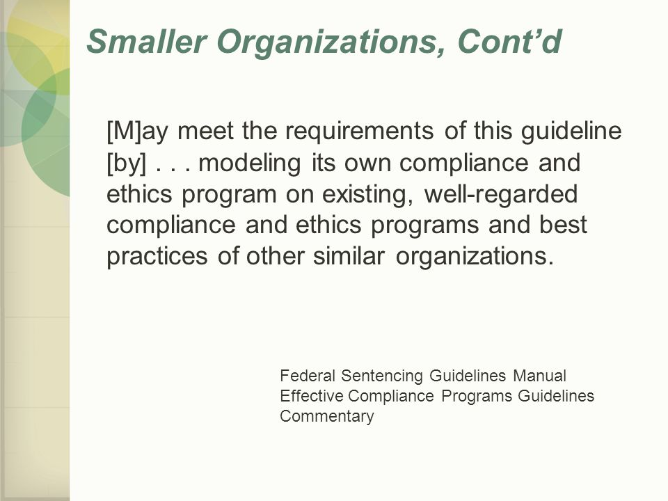 Smaller Organizations, Cont'd