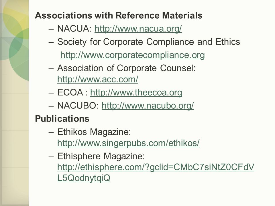 Associations with Reference Materials