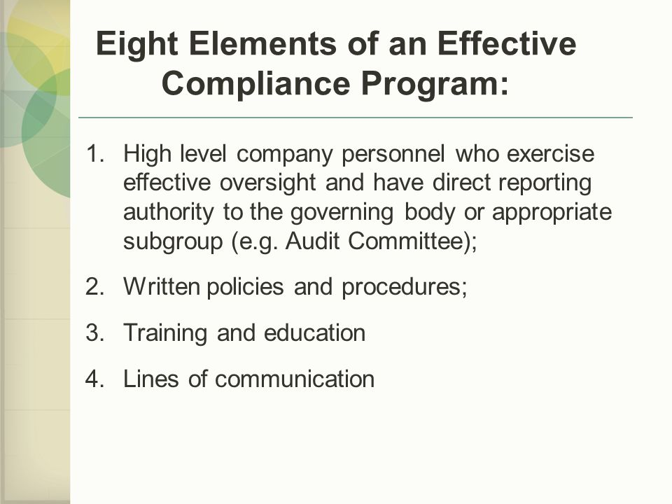 Eight Elements of an Effective Compliance Program: