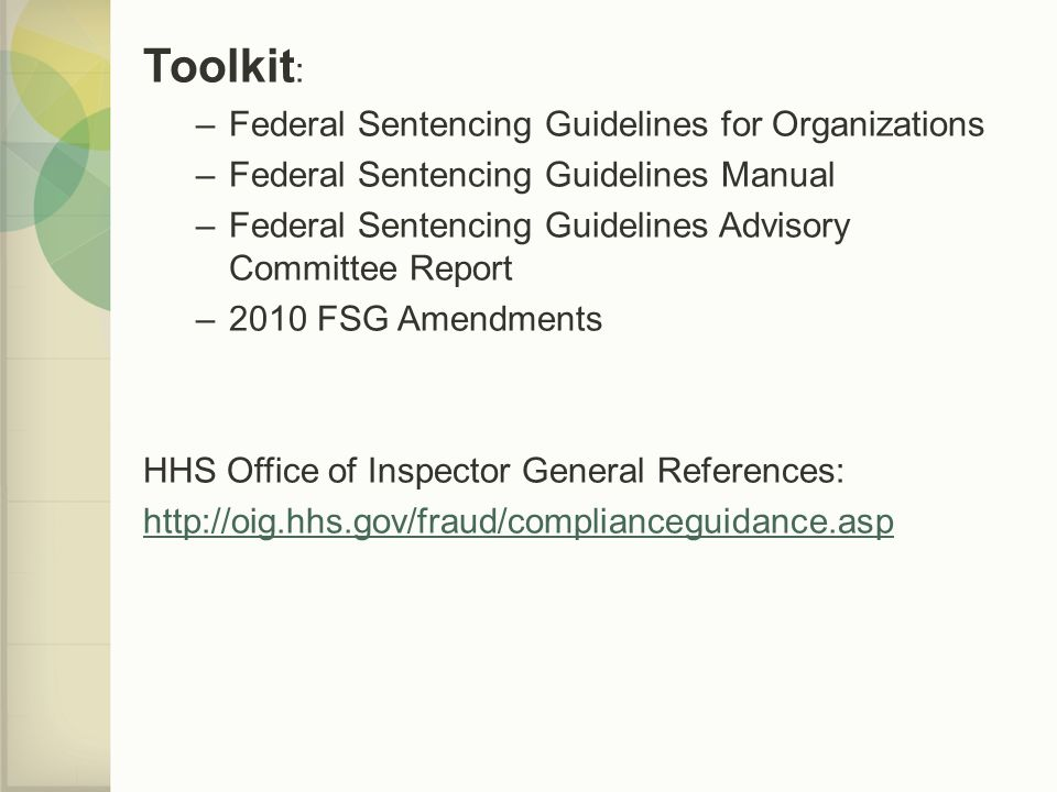 Toolkit: Federal Sentencing Guidelines for Organizations