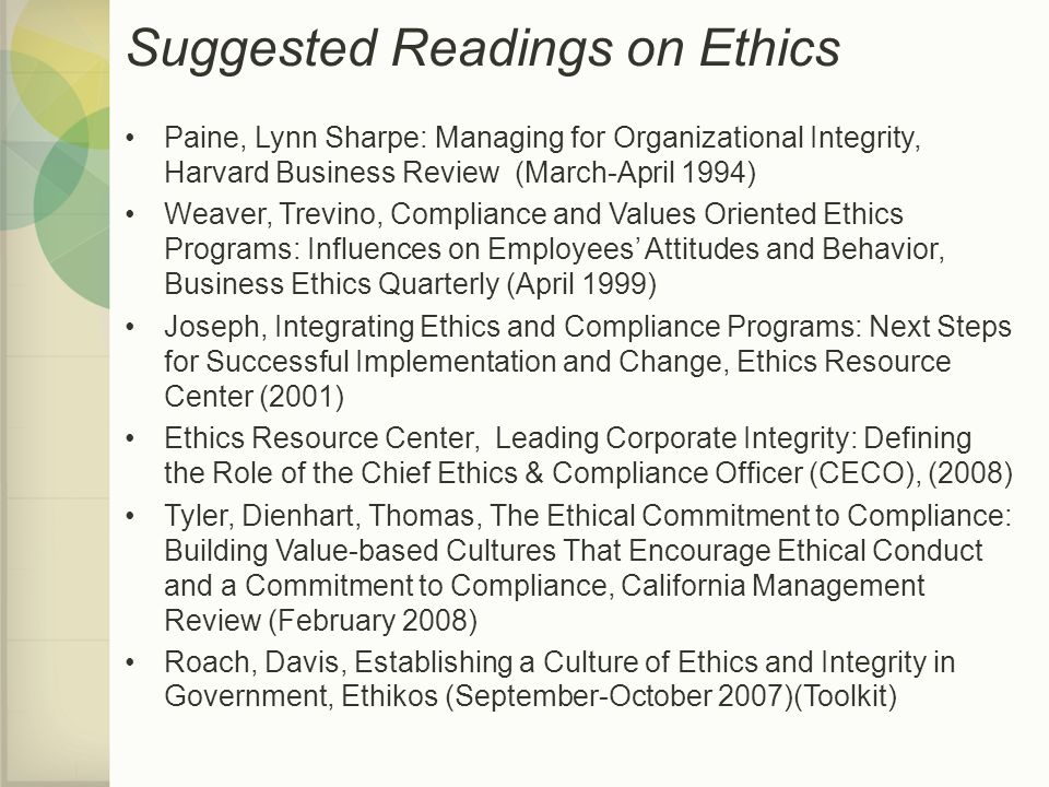 Suggested Readings on Ethics