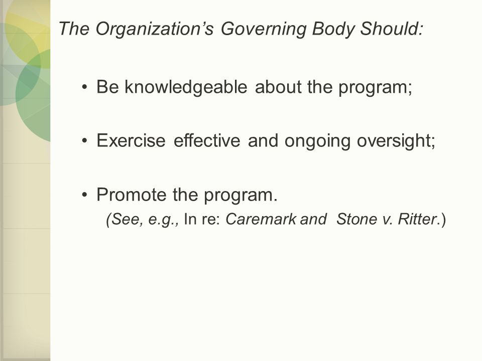 The Organization's Governing Body Should: