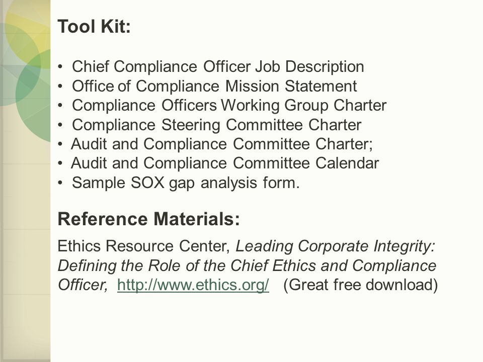 Compliance 101 a guide to building effective compliance - Corporate compliance officer job description ...