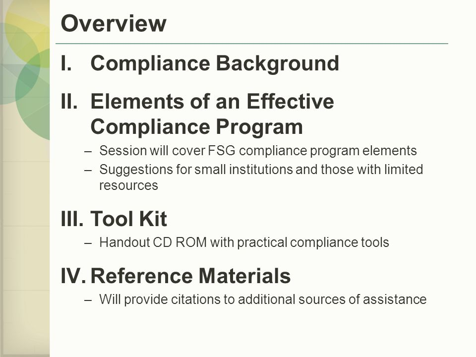 Overview Compliance Background