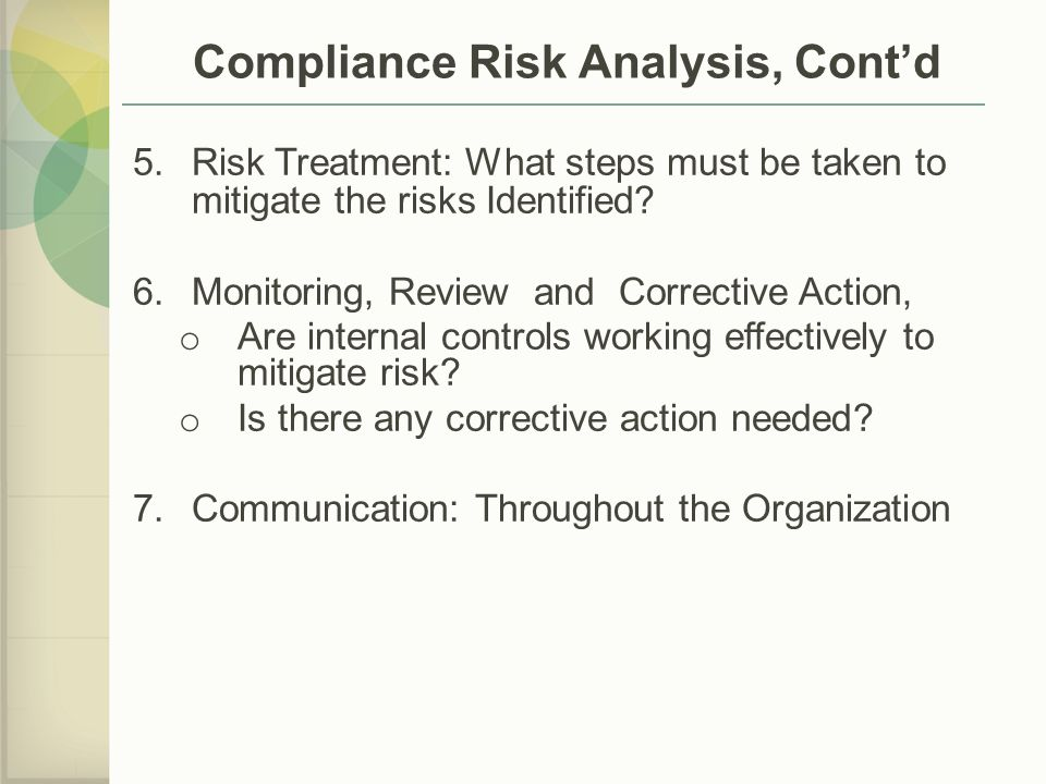 Compliance Risk Analysis, Cont'd