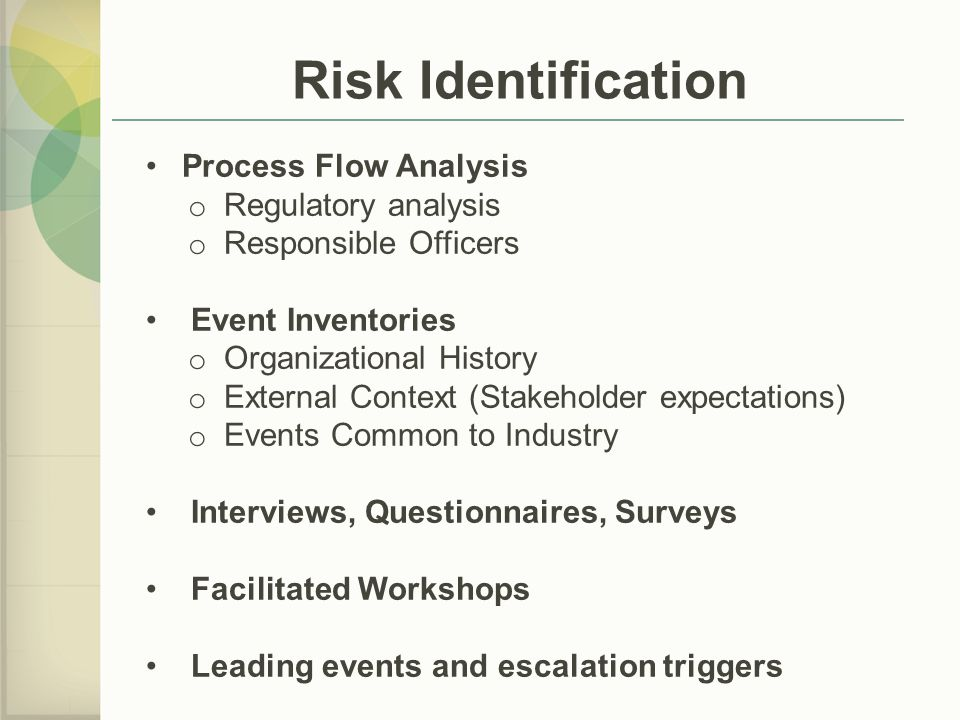 Risk Identification Process Flow Analysis Regulatory analysis