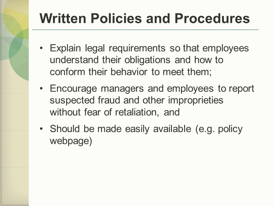 Written Policies and Procedures