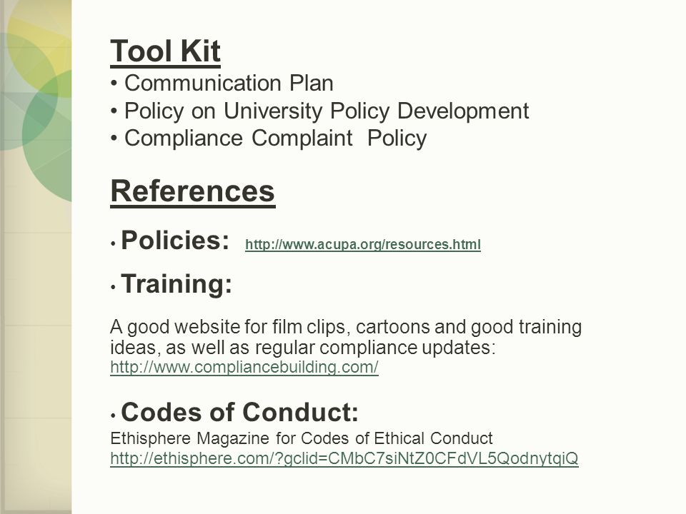 Tool Kit References Communication Plan