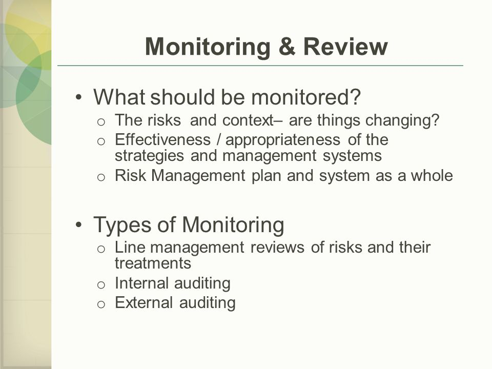 Monitoring & Review What should be monitored Types of Monitoring