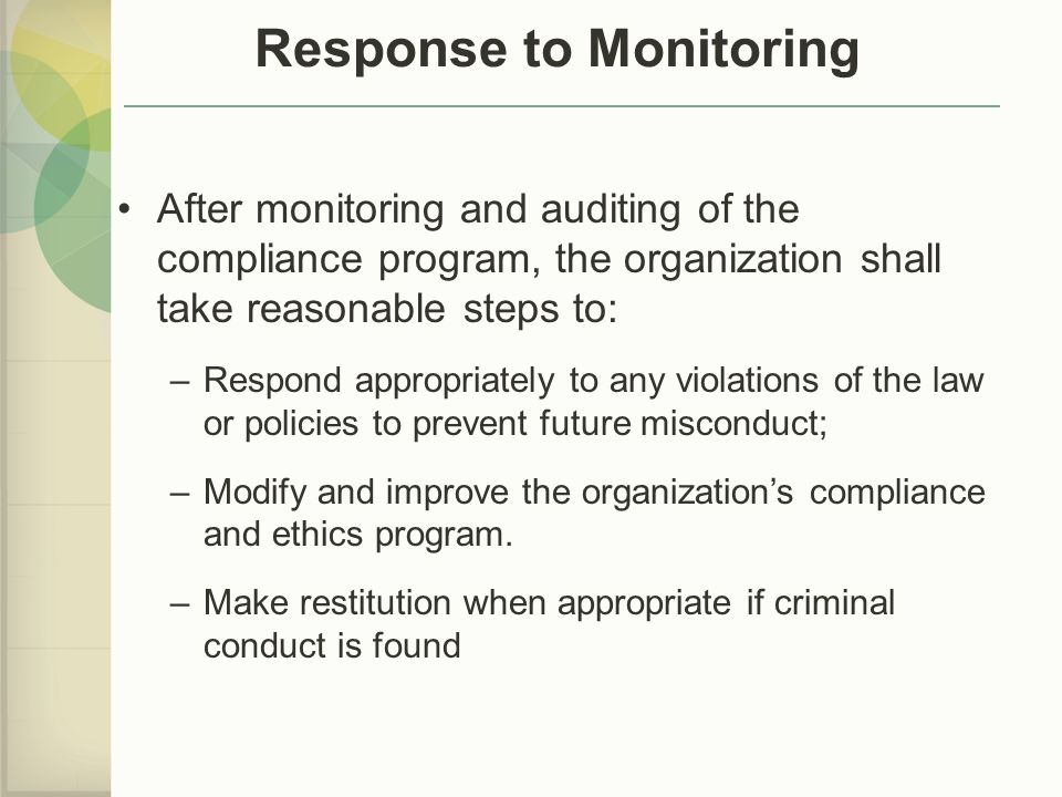 Response to Monitoring