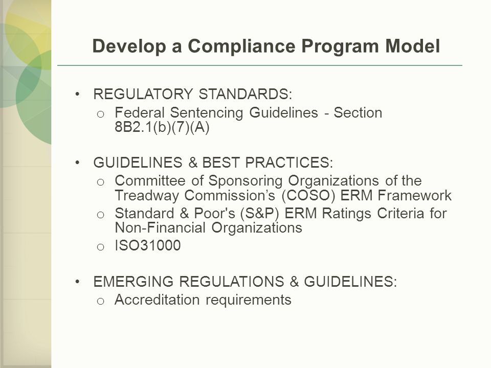 Develop a Compliance Program Model