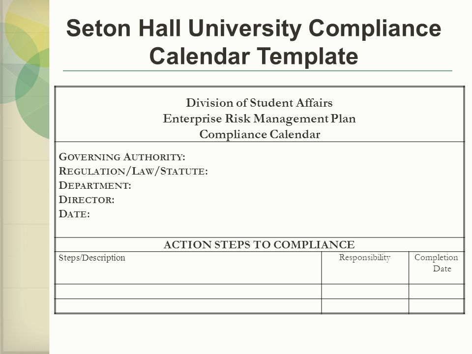 Seton Hall University Compliance Calendar Template