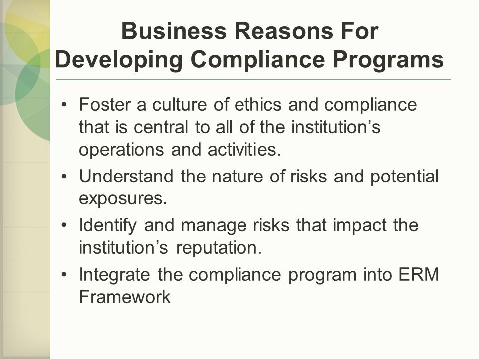 Business Reasons For Developing Compliance Programs
