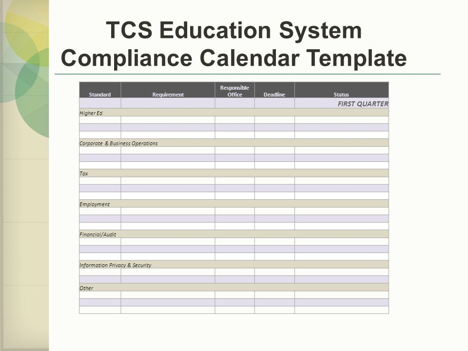 TCS Education System Compliance Calendar Template