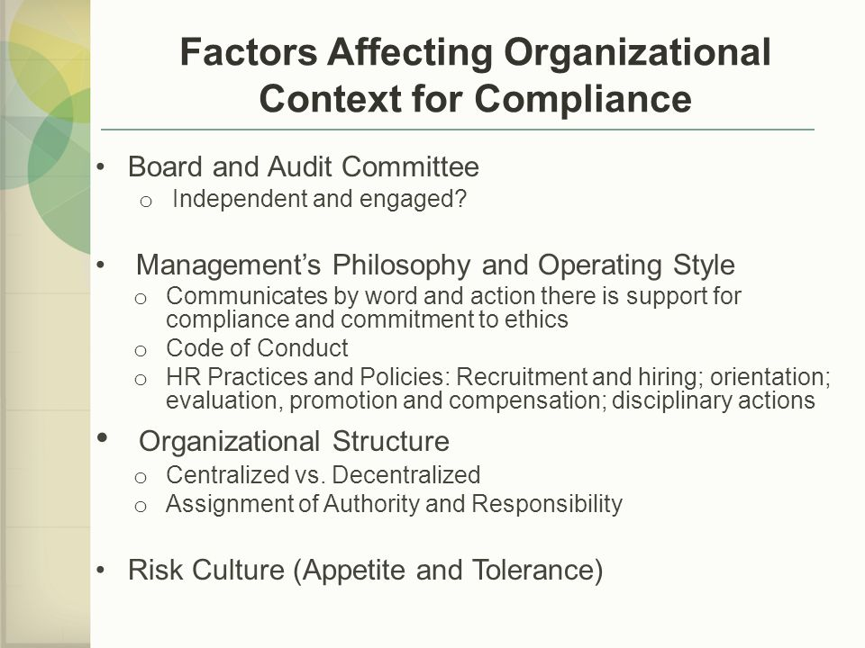 Factors Affecting Organizational Context for Compliance