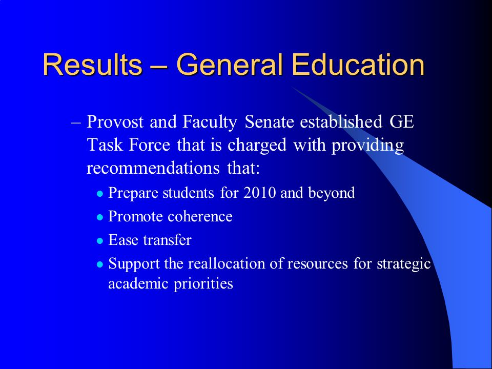 Results – General Education