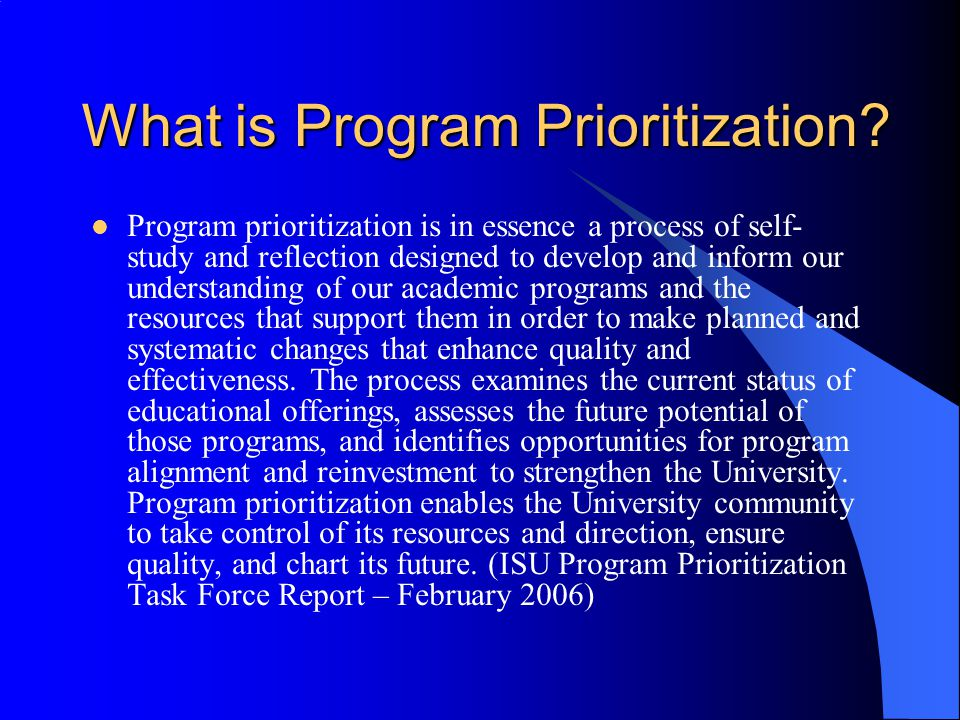 What is Program Prioritization