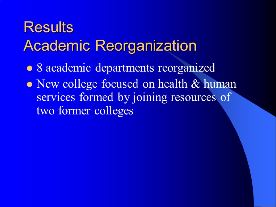 Results Academic Reorganization