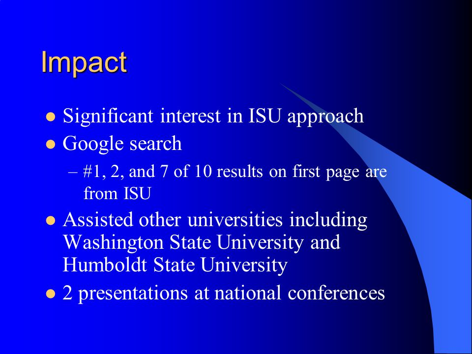 Impact Significant interest in ISU approach Google search