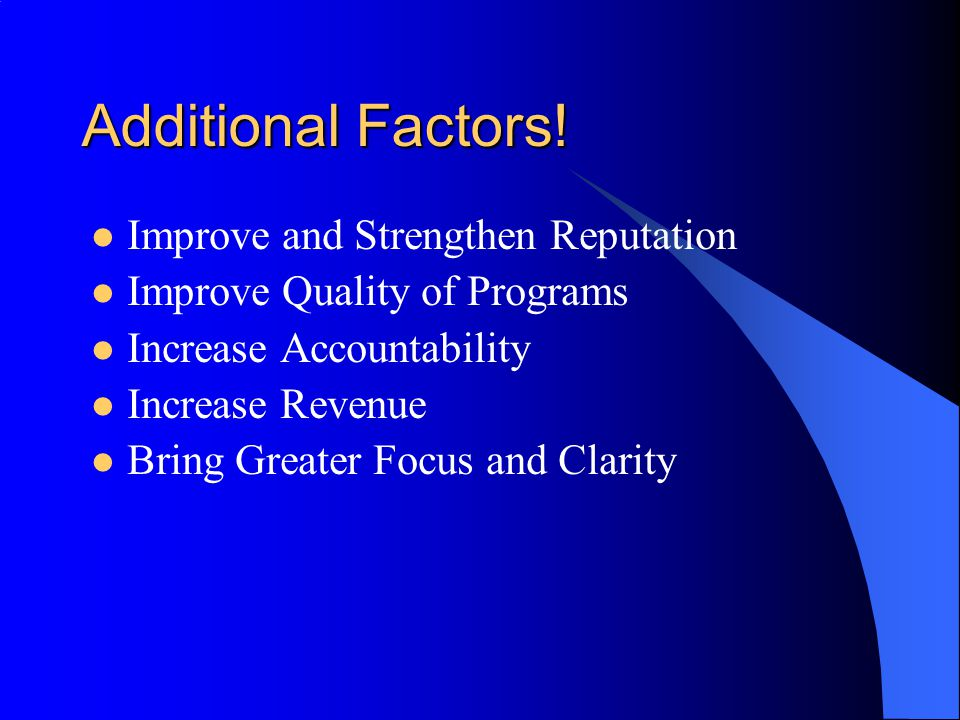 Additional Factors! Improve and Strengthen Reputation