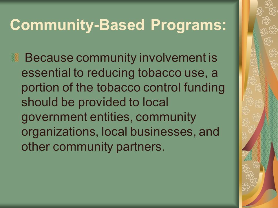 Community-Based Programs: