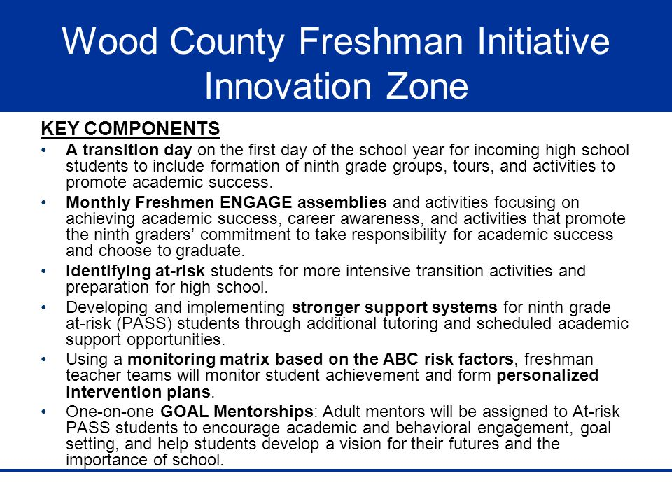 Wood County Freshman Initiative Innovation Zone