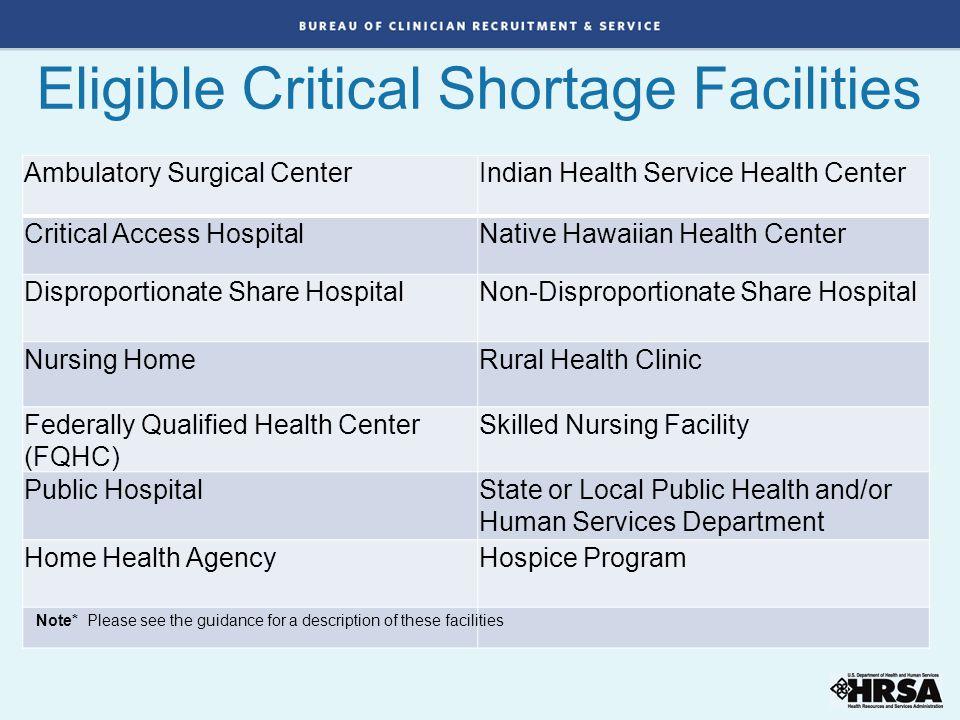 Eligible Critical Shortage Facilities