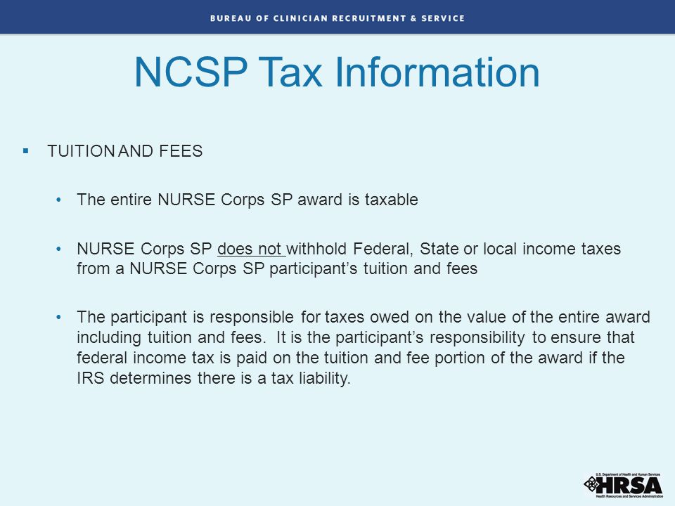 NCSP Tax Information TUITION AND FEES