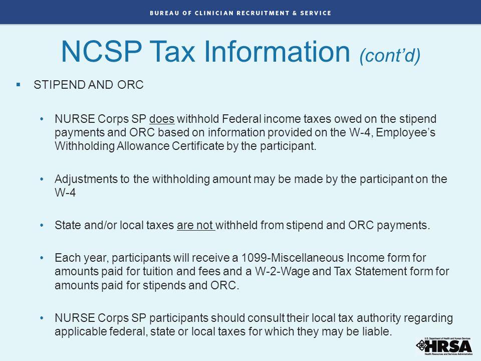 NCSP Tax Information (cont'd)