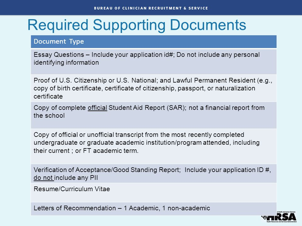 Required Supporting Documents