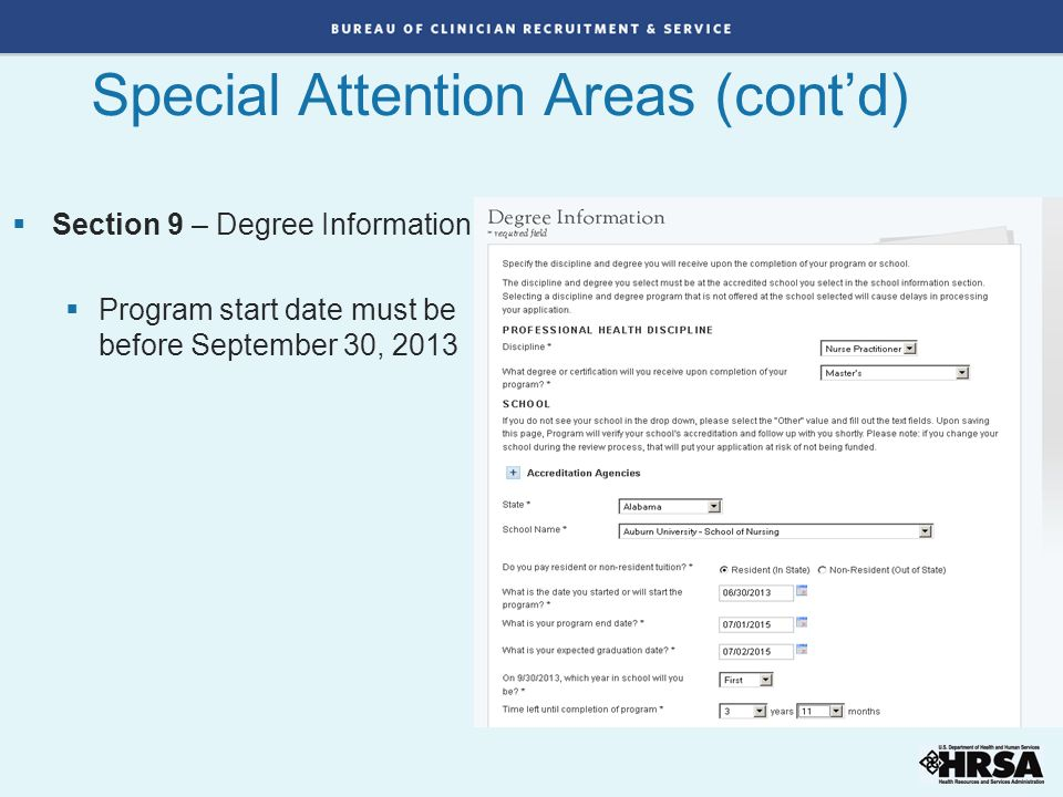 Special Attention Areas (cont'd)