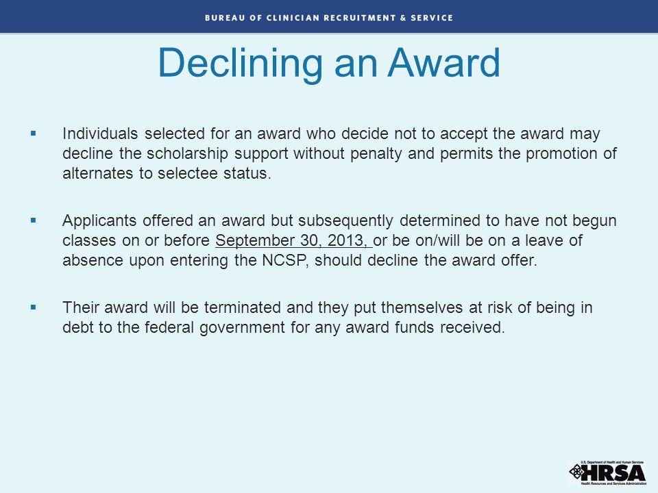 Declining an Award