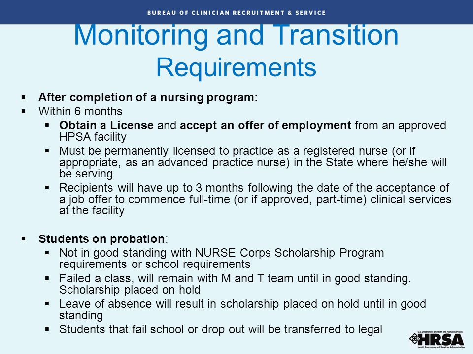 Monitoring and Transition Requirements