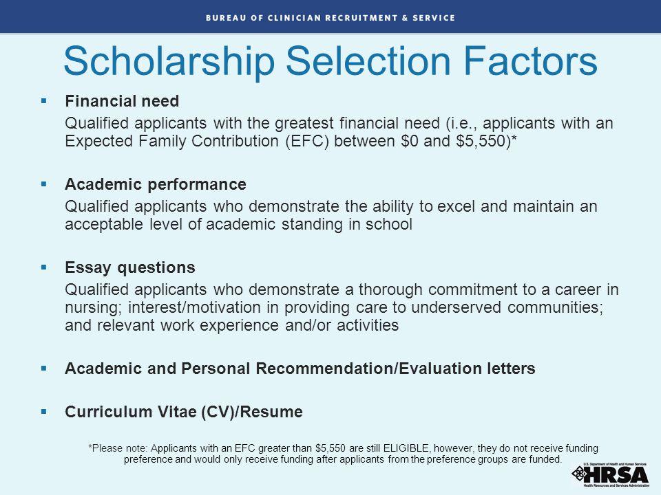 Scholarship Selection Factors