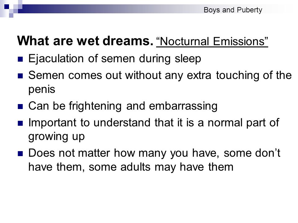 What are wet dreams. Nocturnal Emissions