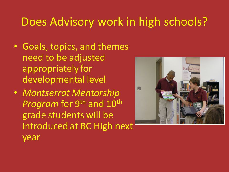 Does Advisory work in high schools