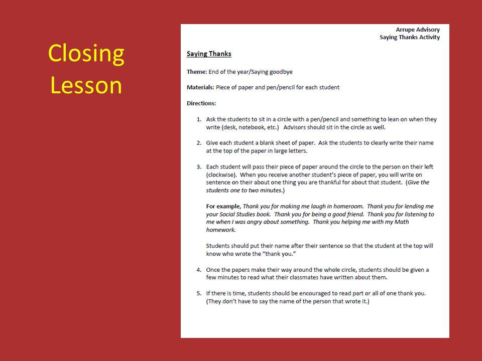 Closing Lesson