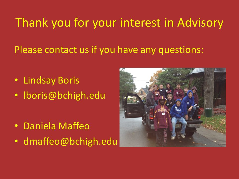 Thank you for your interest in Advisory