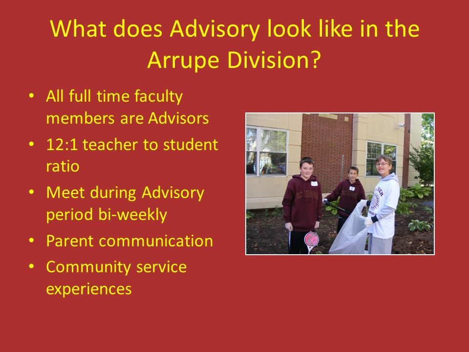 What does Advisory look like in the Arrupe Division