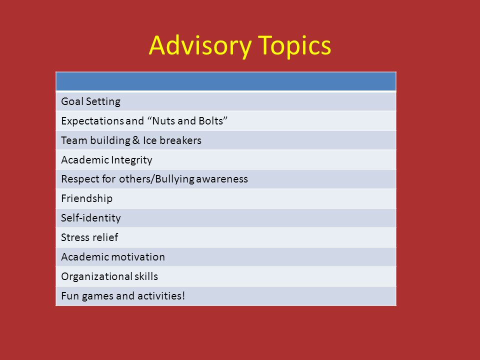 Advisory Topics Goal Setting Expectations and Nuts and Bolts
