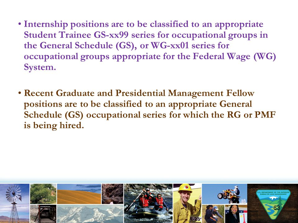Internship positions are to be classified to an appropriate Student Trainee GS-xx99 series for occupational groups in the General Schedule (GS), or WG-xx01 series for occupational groups appropriate for the Federal Wage (WG) System.