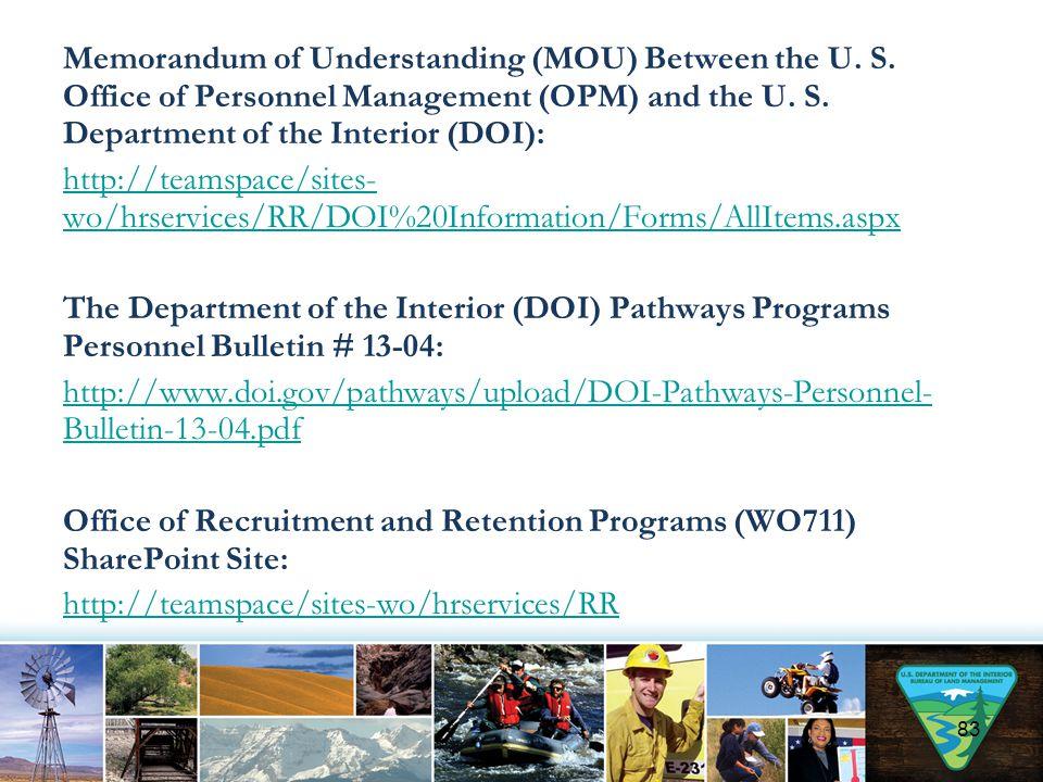 Memorandum of Understanding (MOU) Between the U. S