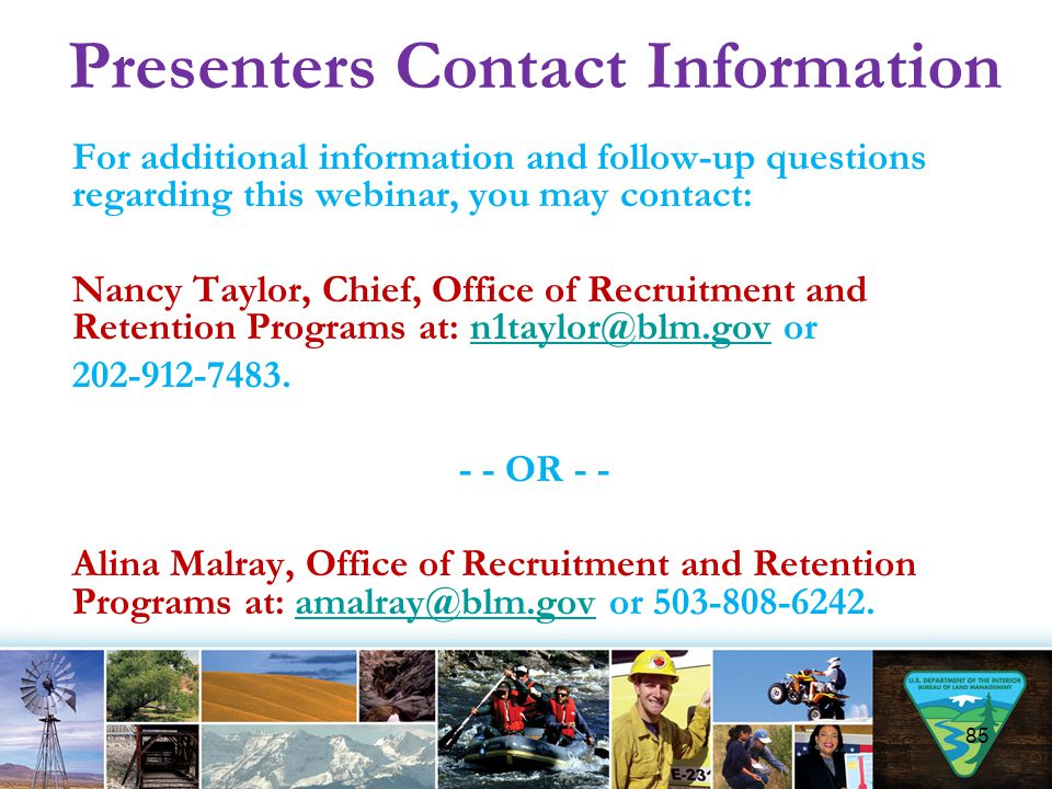 Presenters Contact Information