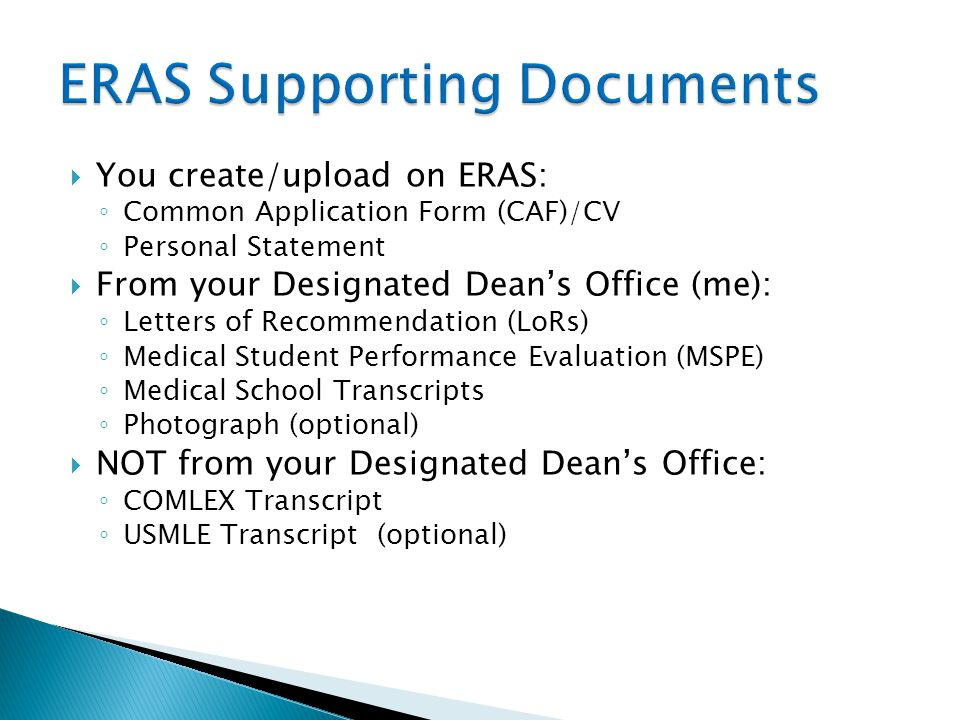 ERAS Supporting Documents