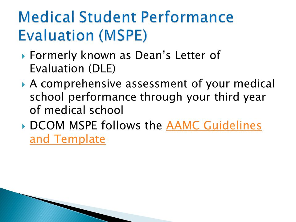Medical Student Performance Evaluation (MSPE)