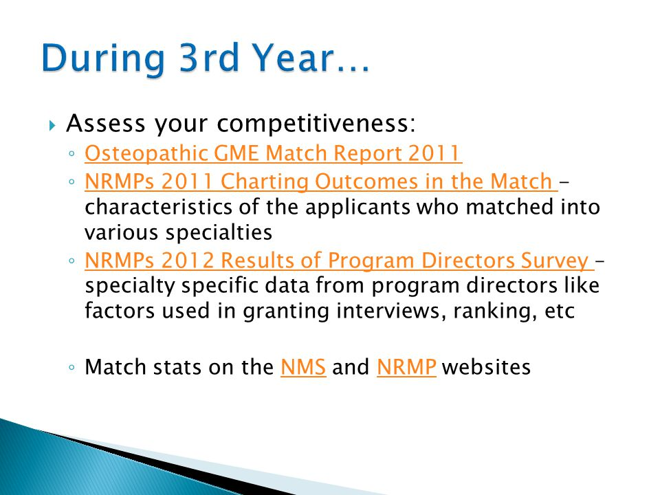 During 3rd Year… Assess your competitiveness: