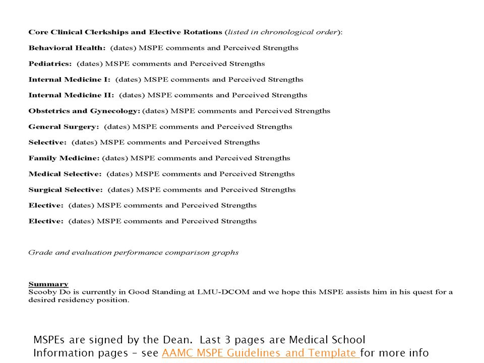 MSPEs are signed by the Dean. Last 3 pages are Medical School